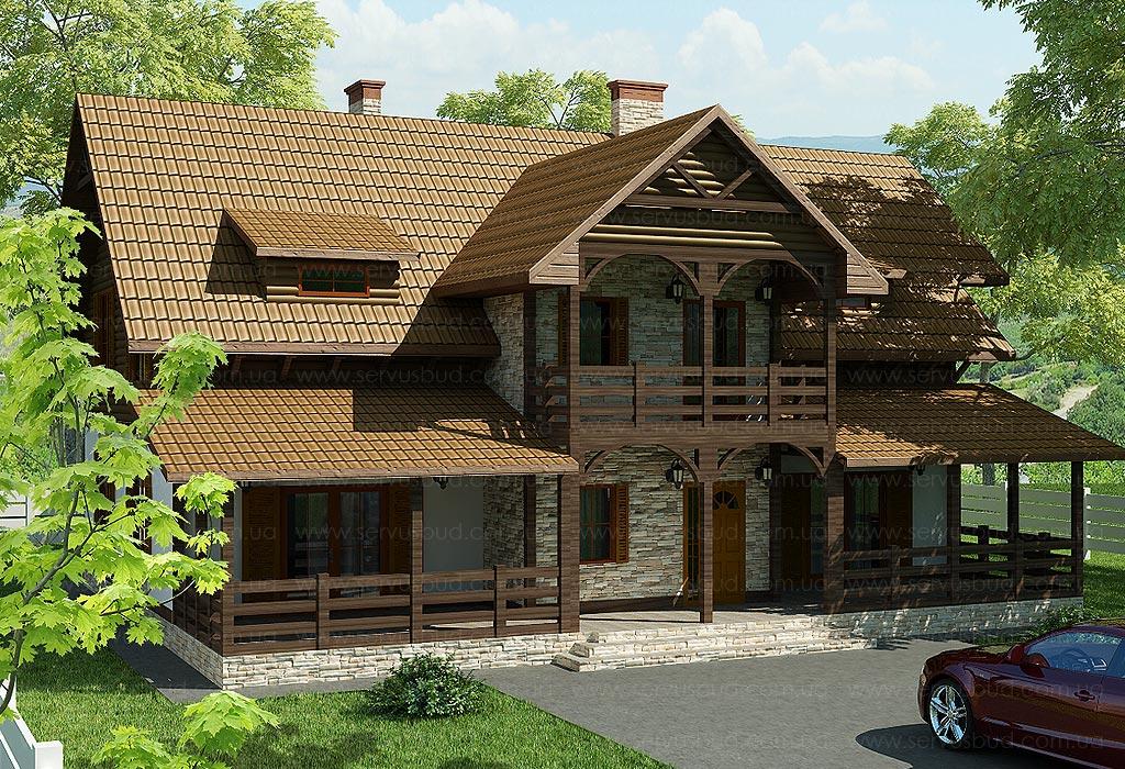 """Проект строительства каркасного дома 297,47 м.кв., """"фольк"""" и."""