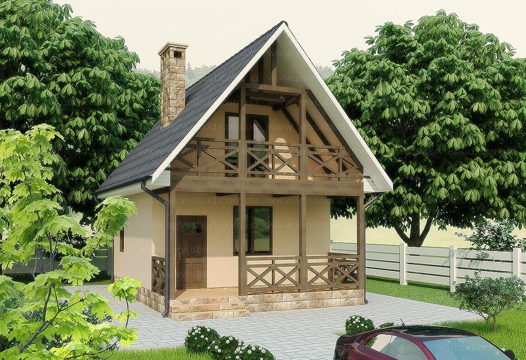 Проекты дачных домов с балконом..